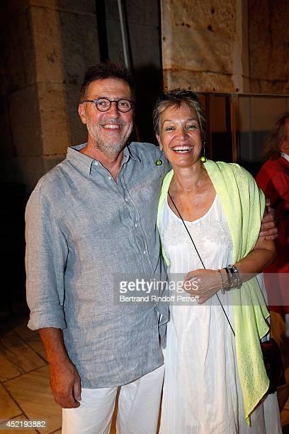 Xaliki Katsarou Niece of Nana Mouskouri pose with her husband Christos Kalogerogiannis after the 'Nana Mouskouri Birthday Tour' In Herod Atticus...