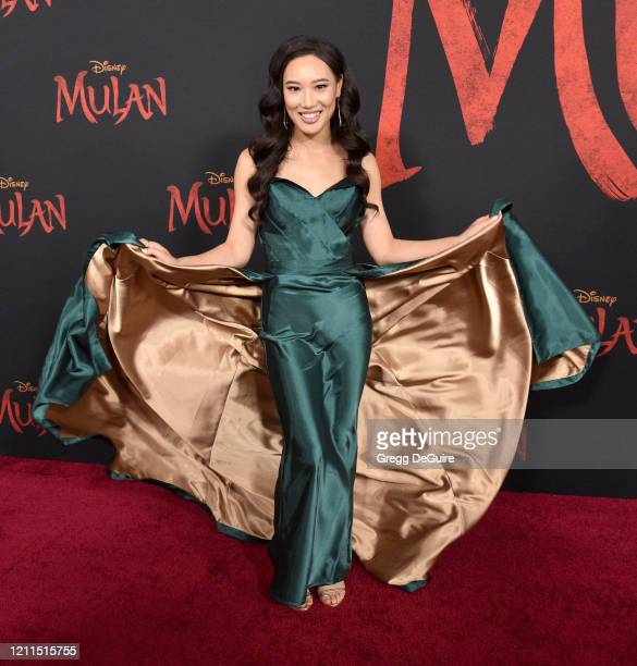 """Xana Tang attends the Premiere Of Disney's """"Mulan"""" on March 09, 2020 in Hollywood, California."""