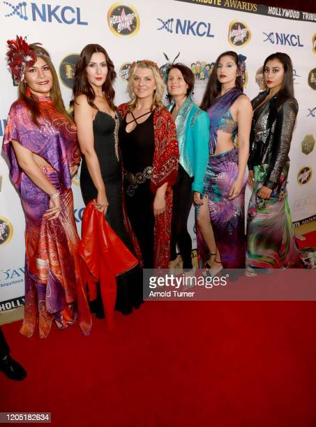 Xanddra Myriam Betty Long and models arrive at Charmaine Blake and Hollywood Tribute Oscar Viewing Dinner to benefit the Faber Ryan Youth Foundation...