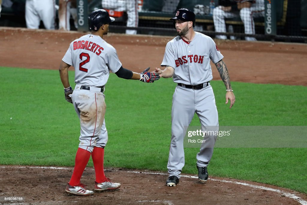 Xander Bogaerts #2 and Blake Swihart #23 of the Boston Red Sox celebrate after they both scored in the eleventh inning of the Red Sox 10-8 win over the Baltimore Orioles at Oriole Park at Camden Yards on September 18, 2017 in Baltimore, Maryland.