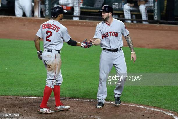 Xander Bogaerts and Blake Swihart of the Boston Red Sox celebrate after they both scored in the eleventh inning of the Red Sox 108 win over the...