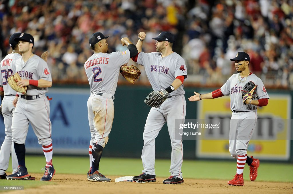 Xander Bogaerts #2 and J.D. Martinez #28 of the Boston Red Sox celebrate after a 11-4 victory against the Washington Nationals at Nationals Park on July 3, 2018 in Washington, DC.