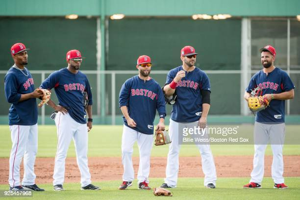 Xander Bogaerts Eduardo Nunez Dustin Pedroia Mitch Moreland and Deven Marrero of the Boston Red Sox talk before a game against the Pittsburgh Pirates...