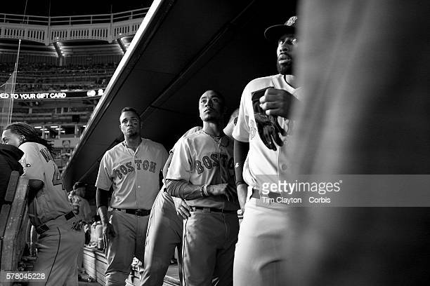 Xander Bogaerts Mookie Betts and Jackie Bradley Jr #25 of the Boston Red Sox the three of them collectively known as the killer b's prepare to leave...