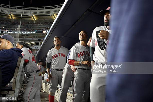July 17: Xander Bogaerts, Mookie Betts and Jackie Bradley Jr. #25 of the Boston Red Sox, the three of them collectively known as the killer b's,...