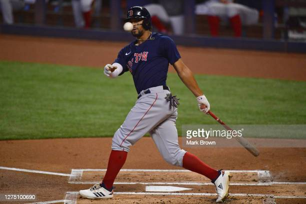 Xander Bogaerts of the Boston Red Sox bats against the Miami Marlins at Marlins Park on September 17 2020 in Miami Florida