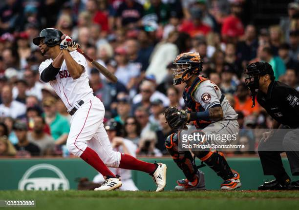 Xander Bogaerts of the Boston Red Sox bats during the game against the Houston Astros at Fenway Park on Saturday September 8 2018 in Boston...