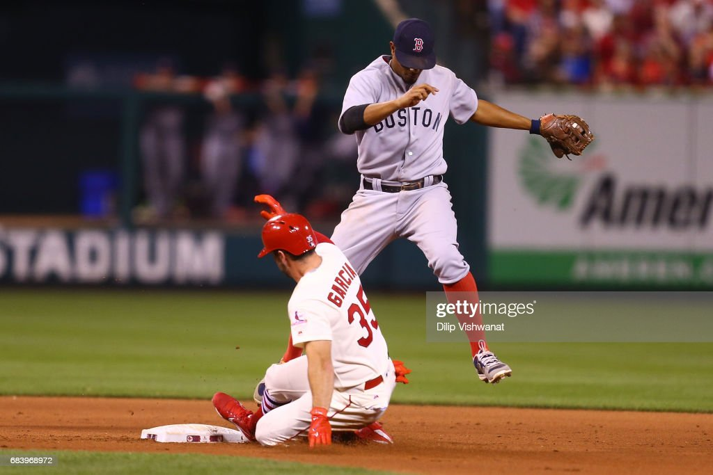 Xander Bogaerts #2 of the Boston Red Sox beats Greg Garcia #35 of the St. Louis Cardinals to second base for an out in the seventh inning at Busch Stadium on May 16, 2017 in St. Louis, Missouri.