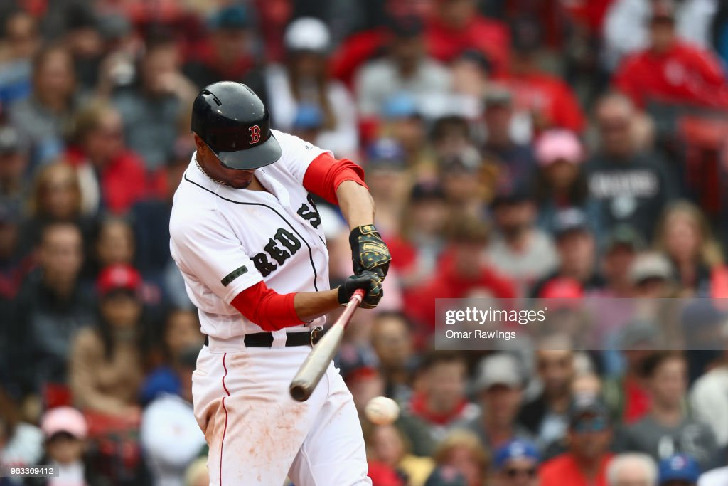 Xander Bogaerts #2 of the Boston Red Sox grounds out in the bottom of the eighth inning of the game against the Toronto Blue Jays at Fenway Park on May 28, 2018 in Boston, Massachusetts. MLB Players across the league are wearing special uniforms to commemorate Memorial Day.