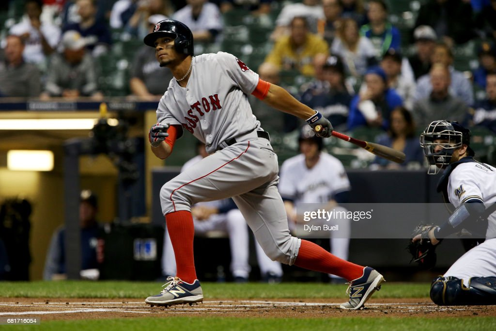 Xander Bogaerts #2 of the Boston Red Sox hits a double in the first inning against the Milwaukee Brewers at Miller Park on May 10, 2017 in Milwaukee, Wisconsin.
