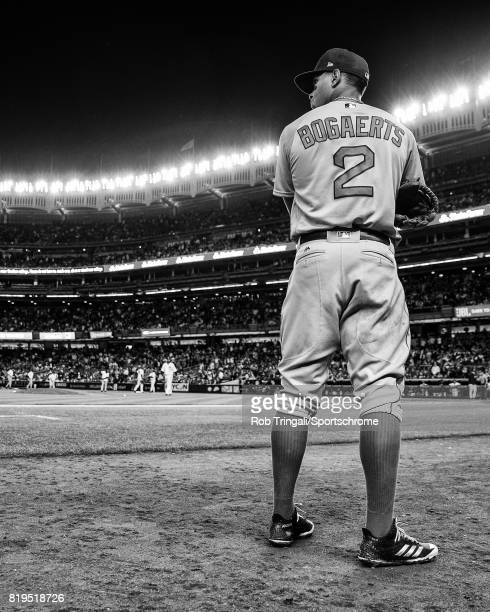 Xander Bogaerts of the Boston Red Sox looks on during the game against the New York Yankees at Yankee Stadium on June 7 2017 in the Bronx borough of...