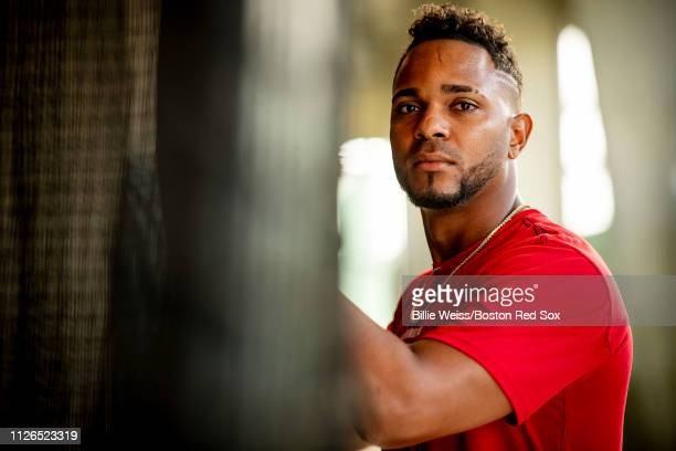 Xander Bogaerts of the Boston Red Sox poses for a portrait in the batting cage during a team workout on February 21 2019 at JetBlue Park at Fenway...