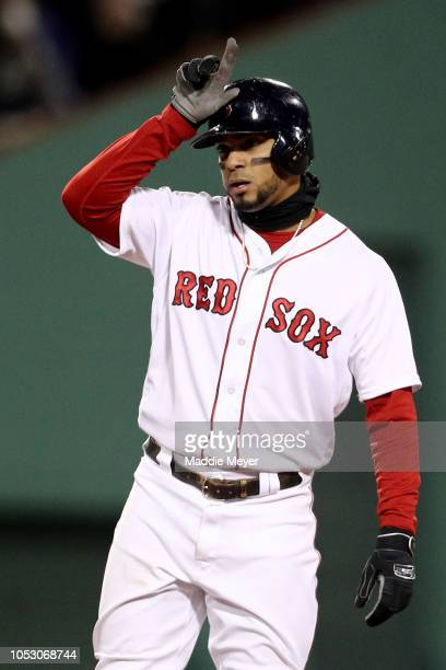 Xander Bogaerts of the Boston Red Sox reacts after his second inning double against the Los Angeles Dodgers in Game Two of the 2018 World Series at...