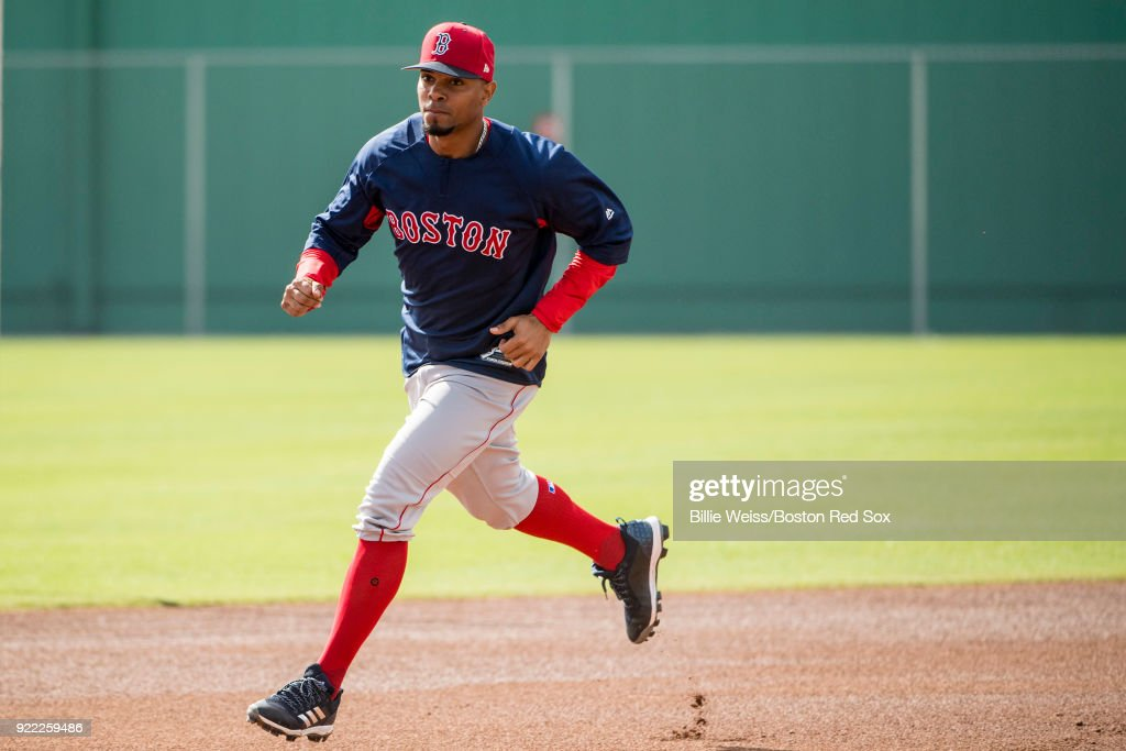 Xander Bogaerts #2 of the Boston Red Sox runs the bases during a team workout on February 21, 2018 at jetBlue Park at Fenway South in Fort Myers, Florida .
