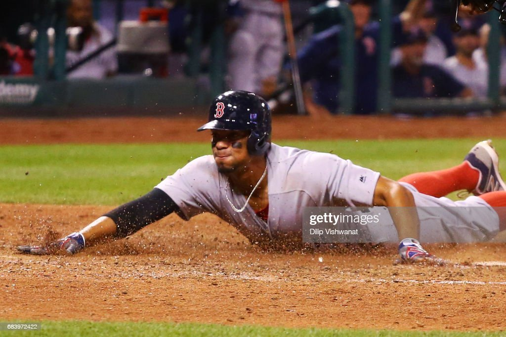 Xander Bogaerts #2 of the Boston Red Sox scores a run against the St. Louis Cardinals in the eighth inning at Busch Stadium on May 16, 2017 in St. Louis, Missouri.