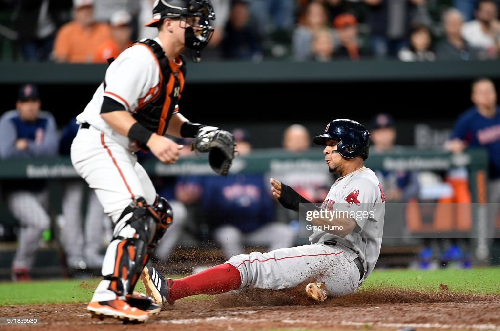Xander Bogaerts #2 of the Boston Red Sox slides into home plate to score the game winning run in the 12th inning against the Baltimore Orioles at Oriole Park at Camden Yards on June 11, 2018 in Baltimore, Maryland. Boston won the game 2-0.