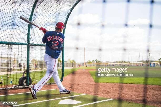 Xander Bogaerts of the Boston Red Sox takes batting practice before a game against the Pittsburgh Pirates at JetBlue Park at Fenway South on February...