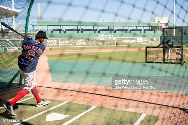 Xander Bogaerts of the Boston Red Sox takes batting practice during a team workout on March 4 2018 at Fenway South in Fort Myers Florida