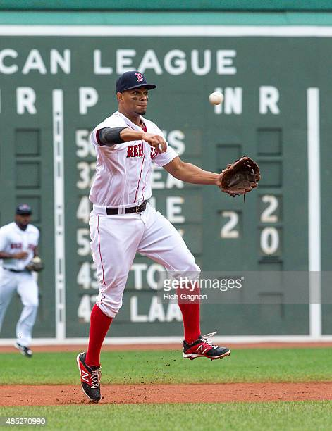 Xander Bogaerts of the Boston Red Sox throws to first base for an out against the Kansas City Royals at Fenway Park on August 23 2015 in Boston...