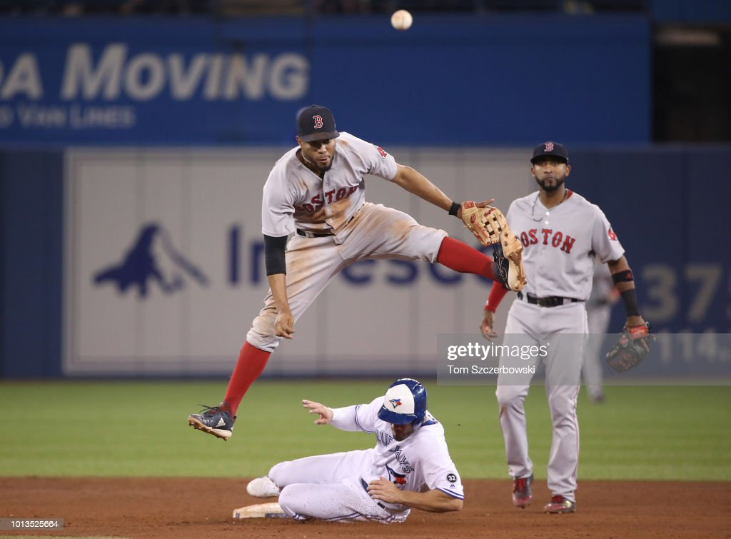 Xander Bogaerts #2 of the Boston Red Sox turns a game-ending double play in the ninth inning during MLB game action as Randal Grichuk #15 of the Toronto Blue Jays slides into second base at Rogers Centre on August 8, 2018 in Toronto, Canada.