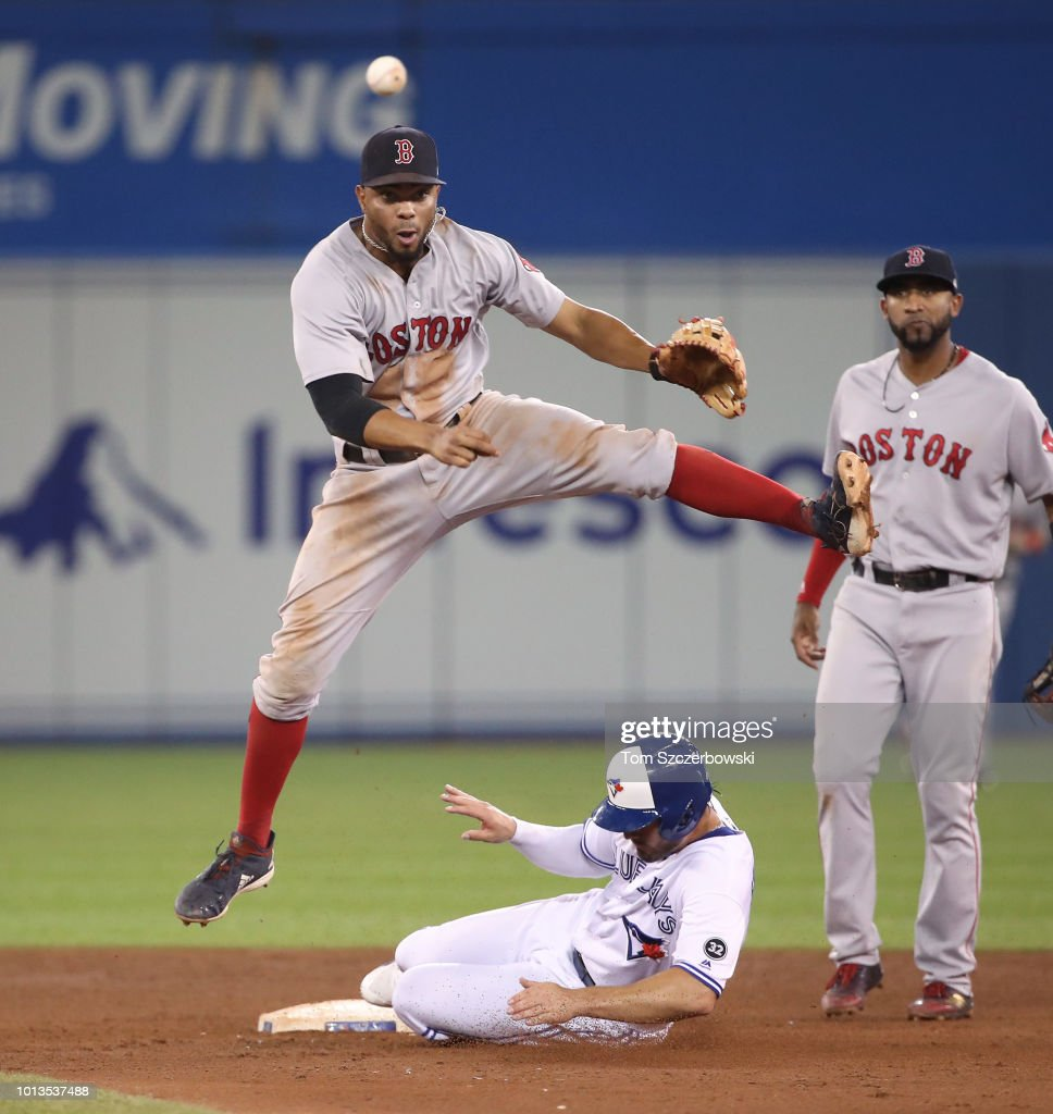Xander Bogaerts #2 of the Boston Red Sox turns a game-ending double play in the ninth inning over Randal Grichuk #15 of the Toronto Blue Jays at second base at Rogers Centre on August 8, 2018 in Toronto, Canada.