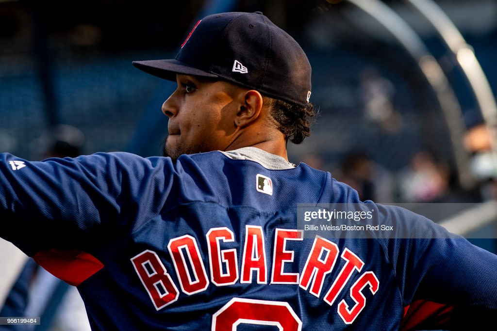 Xander Bogaerts #2 of the Boston Red Sox warms up before a game against the New York Yankees on May 8, 2018 at Yankee Stadium in the Bronx borough of New York City.