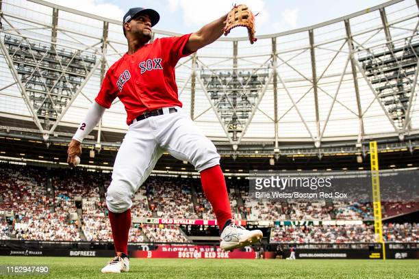 Xander Bogaerts of the Boston Red Sox warms up before game two of the 2019 Major League Baseball London Series against the New York Yankees on June...