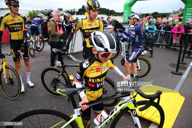 Xander Graham of United Kingdom the kid who received a bottle from Pascal Eenkhoorn of Netherlands and Team Jumbo - Visma on stage 7 is invited to be...