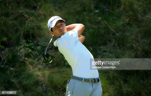 Xander Schauffele hits his drive on the seventh hole during the fourth and final round of The Greenbrier Classic held at The Old White TPC on July 9...