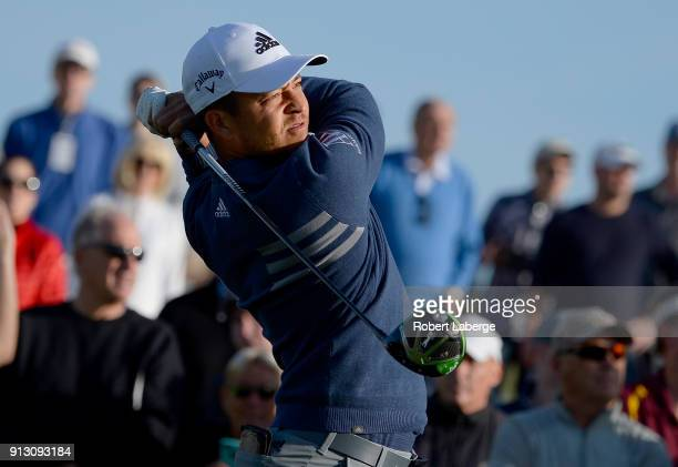 Xander Schauffele hits his tee shot on the 14th hole during the first round of the Waste Management Phoenix Open at TPC Scottsdale on February 1 2018...
