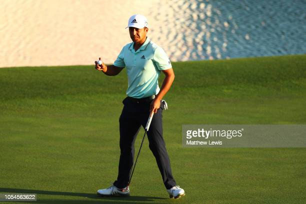 Xander Schauffele of the United States celebrates on the 18th green on his way to defeatng Tony Finau of the United States in a playoff during the...