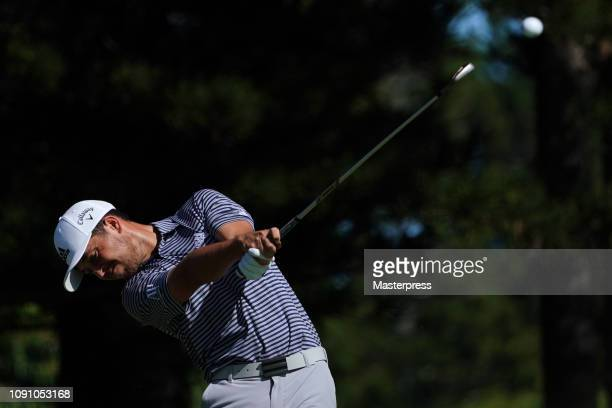 Xander Schauffele of the United States hits a tee shot on the 2nd hole during the final round of the Sentry Tournament of Champions at the Plantation...
