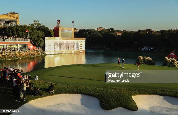 Xander Schauffele of the United States makes a putt on the 18th green on his way to defeatng Tony Finau of the United States in a playoff during the...