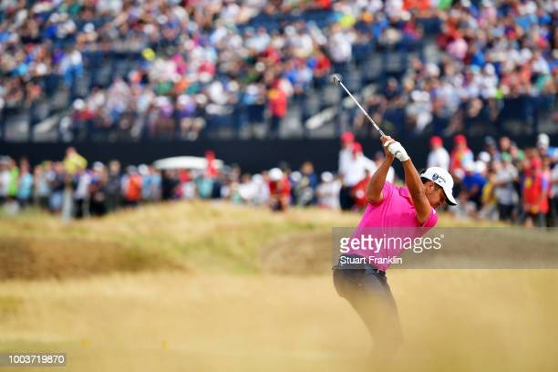 Xander Schauffele of the United States on the fifth hole during the final round of the 147th Open Championship at Carnoustie Golf Club on July 22,...