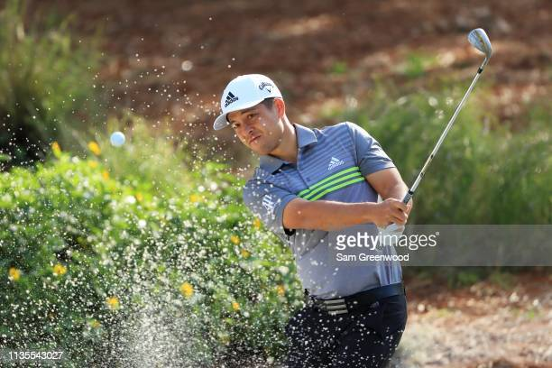 Xander Schauffele of the United States plays a shot during a practice round for The PLAYERS Championship on The Stadium Course at TPC Sawgrass on...