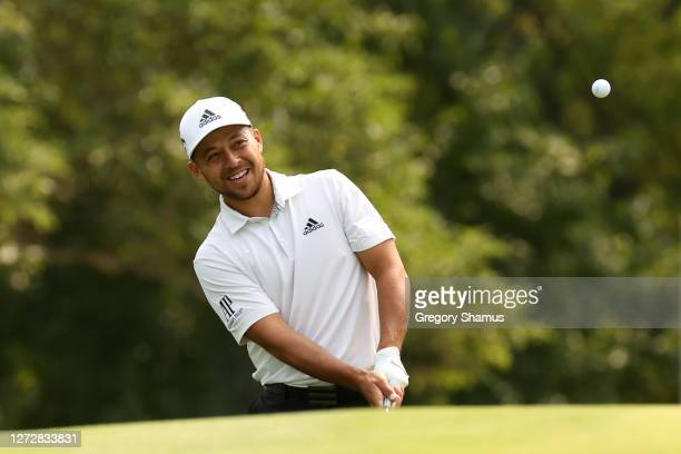 Xander Schauffele of the United States plays a shot during a practice round prior to the 120th U.S. Open Championship on September 16, 2020 at Winged...