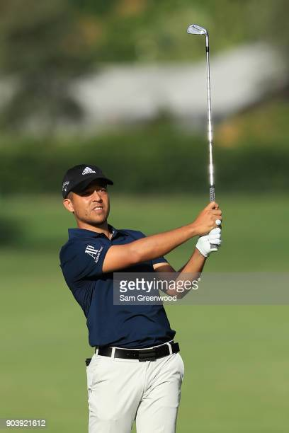 Xander Schauffele of the United States plays a shot during round one of the Sony Open In Hawaii at Waialae Country Club on January 11 2018 in...