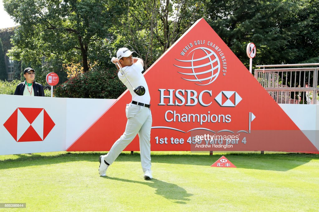 Xander Schauffele of the United States plays a shot during the pro-am prior to the WGC - HSBC Champions at Sheshan International Golf Club on October 25, 2017 in Shanghai, China.