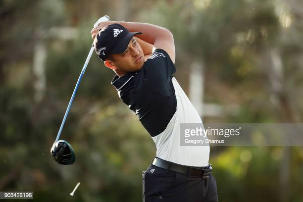 Xander Schauffele of the United States plays a shot during the proam tournament prior to the Sony Open In Hawaii at Waialae Country Club on January...
