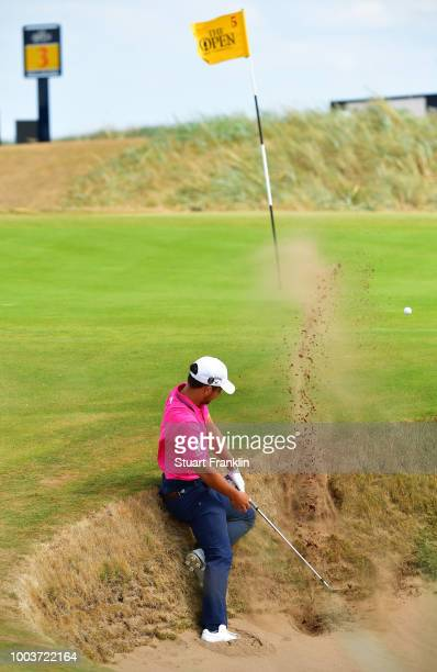 Xander Schauffele of the United States plays a shot from a bunker on the fifth hole during the final round of the 147th Open Championship at...