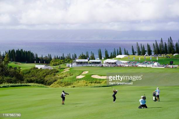Xander Schauffele of the United States plays a shot on the 18th hole during the third round of the Sentry Tournament Of Champions at the Kapalua...