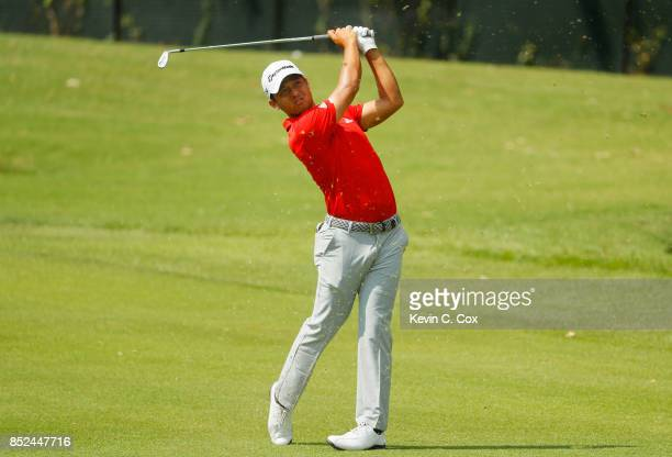 Xander Schauffele of the United States plays a shot on the first hole during the third round of the TOUR Championship at East Lake Golf Club on...