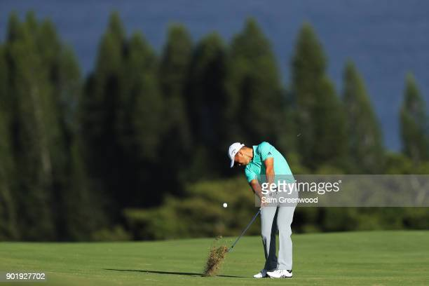 Xander Schauffele of the United States plays a shot on the fourth hole during the third round of the Sentry Tournament of Champions at Plantation...