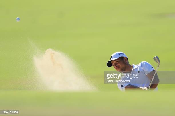 Xander Schauffele of the United States plays a shot on the tenth hole during round two of the Sony Open In Hawaii at Waialae Country Club on January...