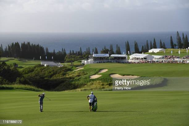 Xander Schauffele of the United States plays his second shot on the 18th hole during the final round of the Sentry Tournament Of Champions at the...