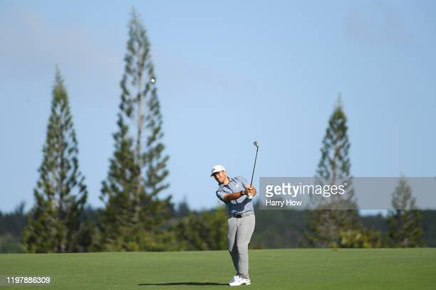 Xander Schauffele of the United States plays his second shot on the 12th hole during the final round of the Sentry Tournament Of Champions at the...