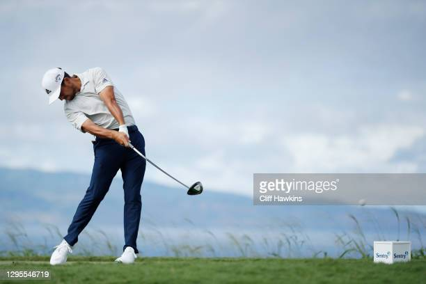 Xander Schauffele of the United States plays his shot from the 10th tee during the third round of the Sentry Tournament Of Champions at the Kapalua...