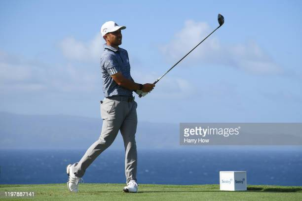 Xander Schauffele of the United States plays his shot from the 13th tee during the final round of the Sentry Tournament Of Champions at the Kapalua...
