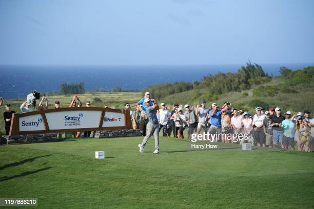 Xander Schauffele of the United States plays his shot from the 14th tee during the final round of the Sentry Tournament Of Champions at the Kapalua...