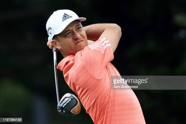 Xander Schauffele of the United States plays his shot from the 15th tee during the second round of the Sentry Tournament Of Champions at the Kapalua...